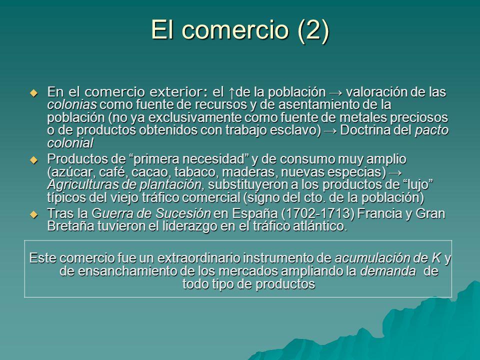El comercio (2) En el comercio exterior: el de la población valoración de las colonias como fuente de recursos y de asentamiento de la población (no y