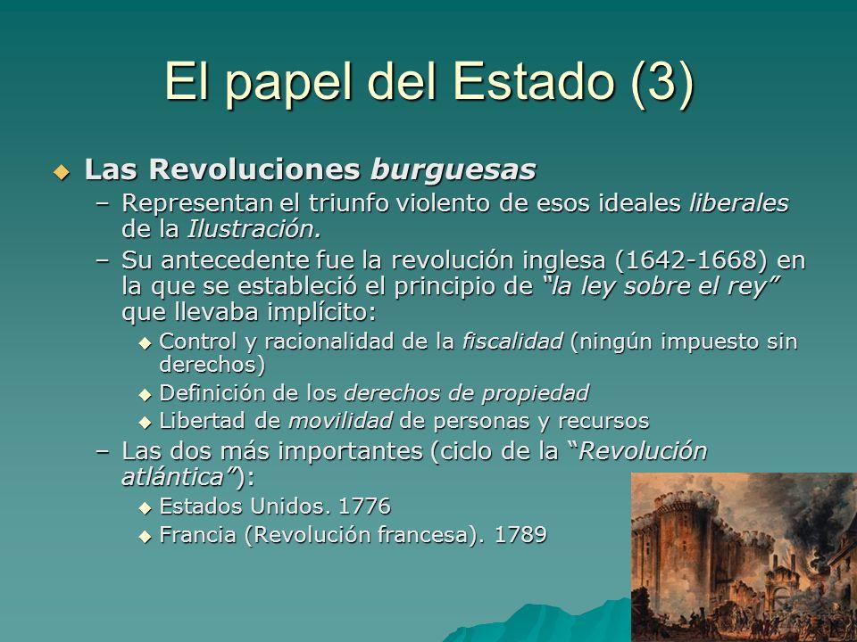 El papel del Estado (3) Las Revoluciones burguesas Las Revoluciones burguesas –Representan el triunfo violento de esos ideales liberales de la Ilustra