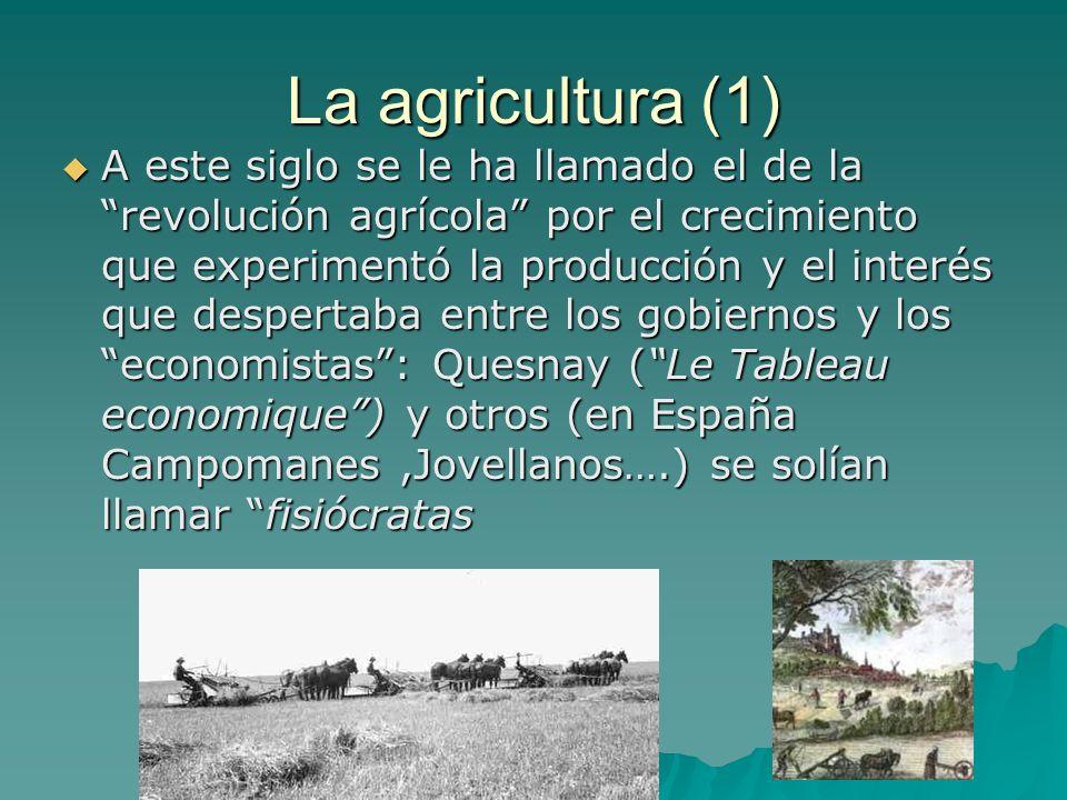 La agricultura (1) A este siglo se le ha llamado el de la revolución agrícola por el crecimiento que experimentó la producción y el interés que desper