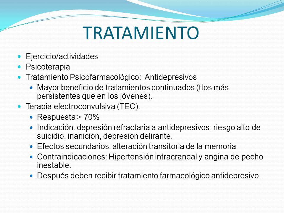 TRATAMIENTO Ejercicio/actividades Psicoterapia Tratamiento Psicofarmacológico: Antidepresivos Mayor beneficio de tratamientos continuados (ttos más persistentes que en los jóvenes).