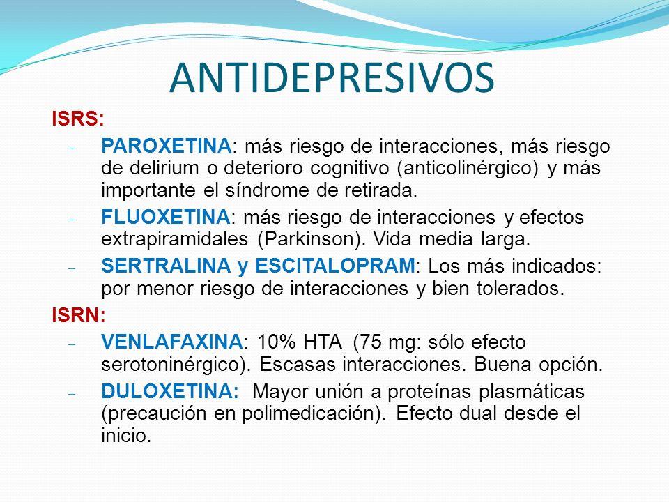 ANTIDEPRESIVOS ISRS: PAROXETINA: más riesgo de interacciones, más riesgo de delirium o deterioro cognitivo (anticolinérgico) y más importante el síndrome de retirada.