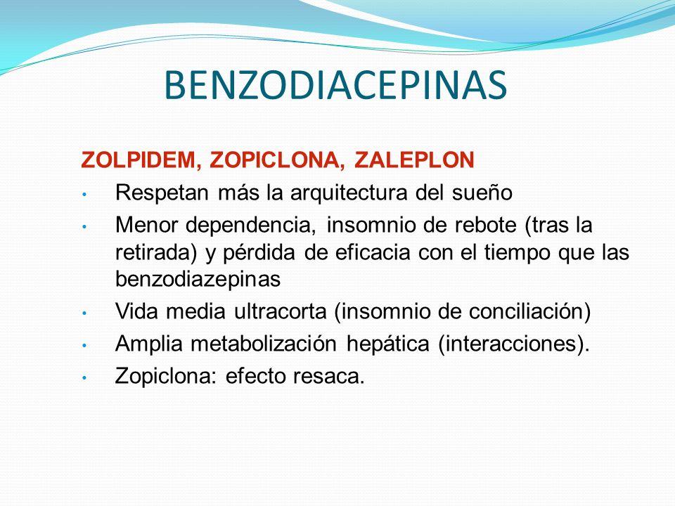 BENZODIACEPINAS ZOLPIDEM, ZOPICLONA, ZALEPLON Respetan más la arquitectura del sueño Menor dependencia, insomnio de rebote (tras la retirada) y pérdida de eficacia con el tiempo que las benzodiazepinas Vida media ultracorta (insomnio de conciliación) Amplia metabolización hepática (interacciones).