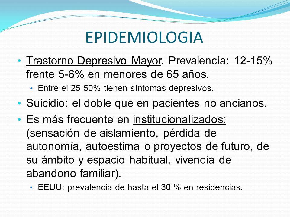 EPIDEMIOLOGIA Trastorno Depresivo Mayor. Prevalencia: 12-15% frente 5-6% en menores de 65 años. Entre el 25-50% tienen síntomas depresivos. Suicidio: