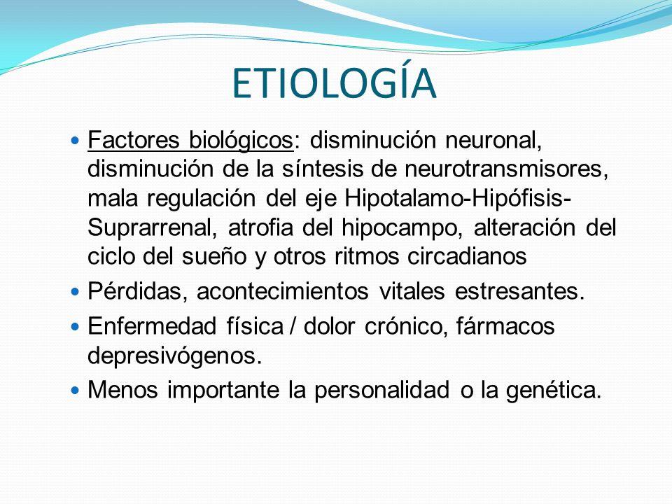 ETIOLOGÍA Factores biológicos: disminución neuronal, disminución de la síntesis de neurotransmisores, mala regulación del eje Hipotalamo-Hipófisis- Suprarrenal, atrofia del hipocampo, alteración del ciclo del sueño y otros ritmos circadianos Pérdidas, acontecimientos vitales estresantes.