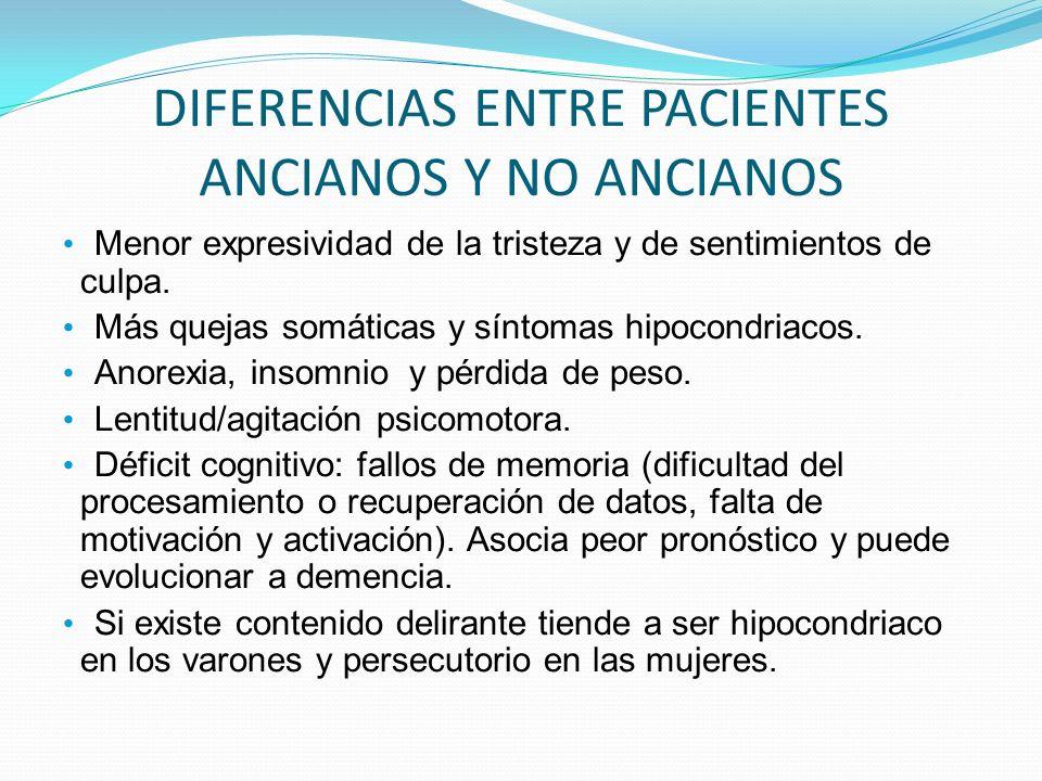 DIFERENCIAS ENTRE PACIENTES ANCIANOS Y NO ANCIANOS Menor expresividad de la tristeza y de sentimientos de culpa. Más quejas somáticas y síntomas hipoc