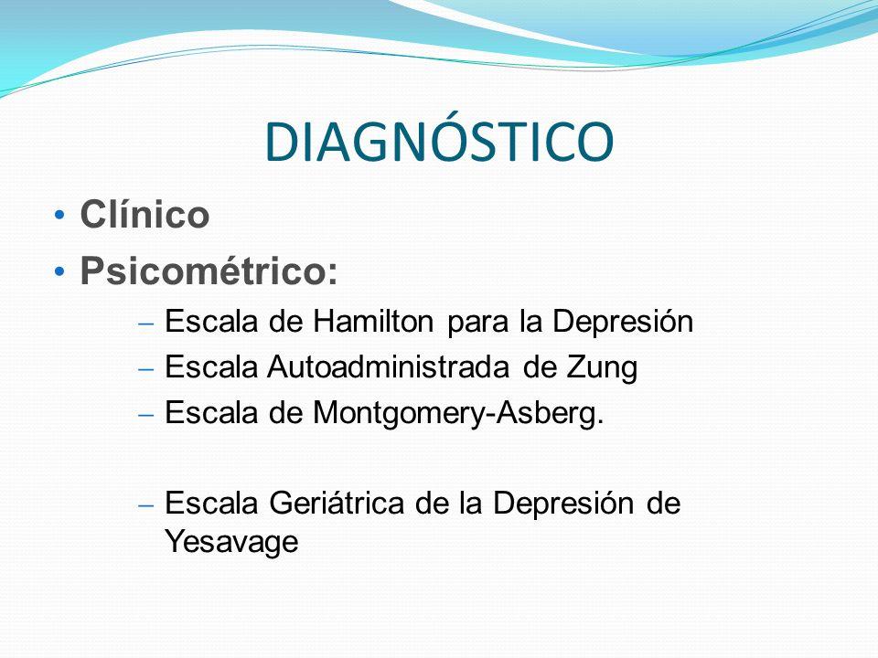 DIAGNÓSTICO Clínico Psicométrico: Escala de Hamilton para la Depresión Escala Autoadministrada de Zung Escala de Montgomery-Asberg. Escala Geriátrica