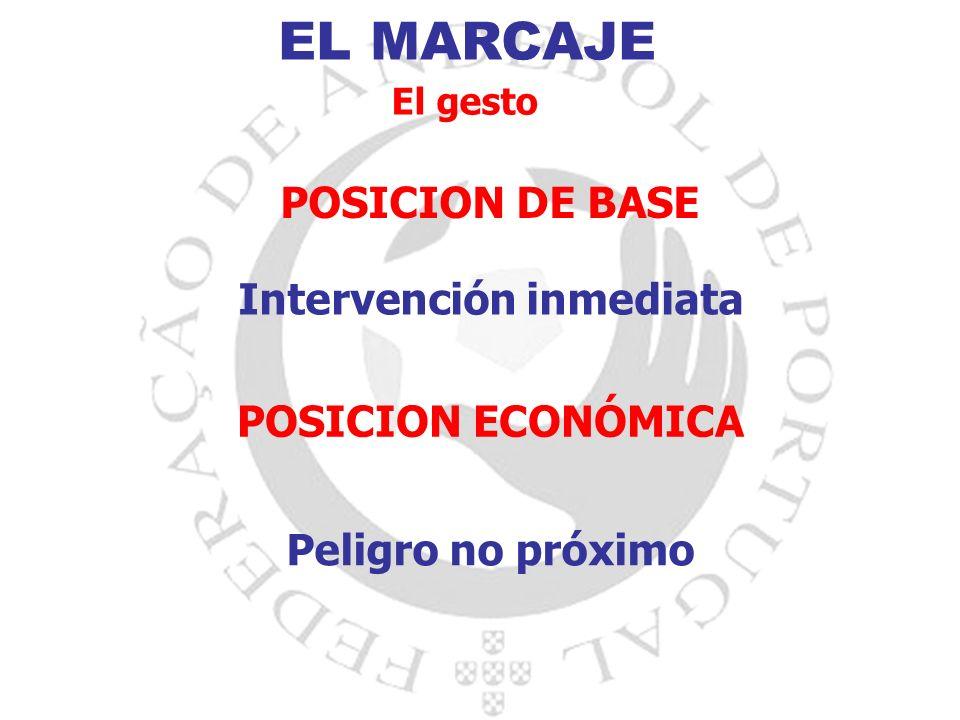 EL MARCAJE El gesto POSICION DE BASE Intervención inmediata POSICION ECONÓMICA Peligro no próximo