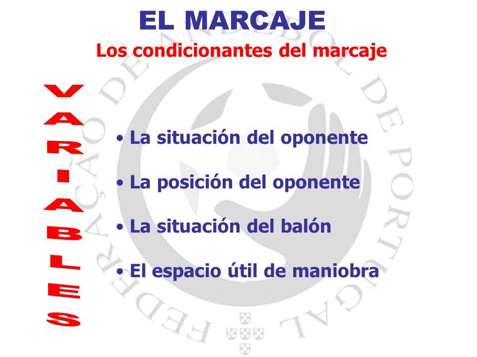EL MARCAJE Los condicionantes del marcaje La situación del oponente La posición del oponente La situación del balón El espacio útil de maniobra