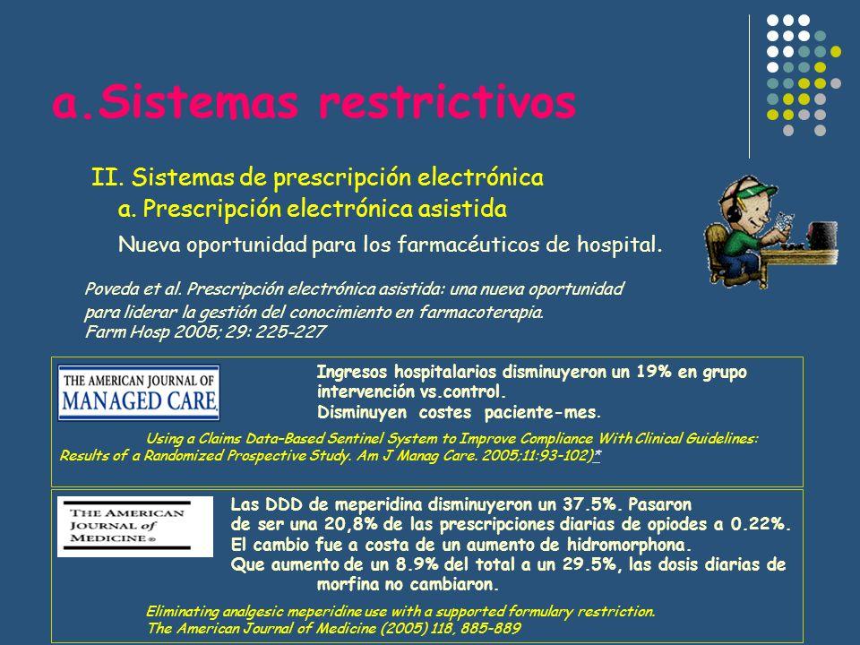 a.Sistemas restrictivos II. Sistemas de prescripción electrónica a. Prescripción electrónica asistida Nueva oportunidad para los farmacéuticos de hosp