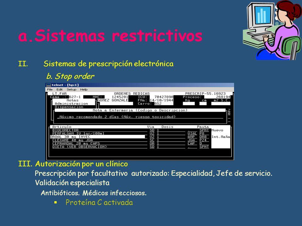 a.Sistemas restrictivos II. Sistemas de prescripción electrónica b. Stop order Duraciones de tratamiento ketorolaco III.Autorización por un clínico Pr
