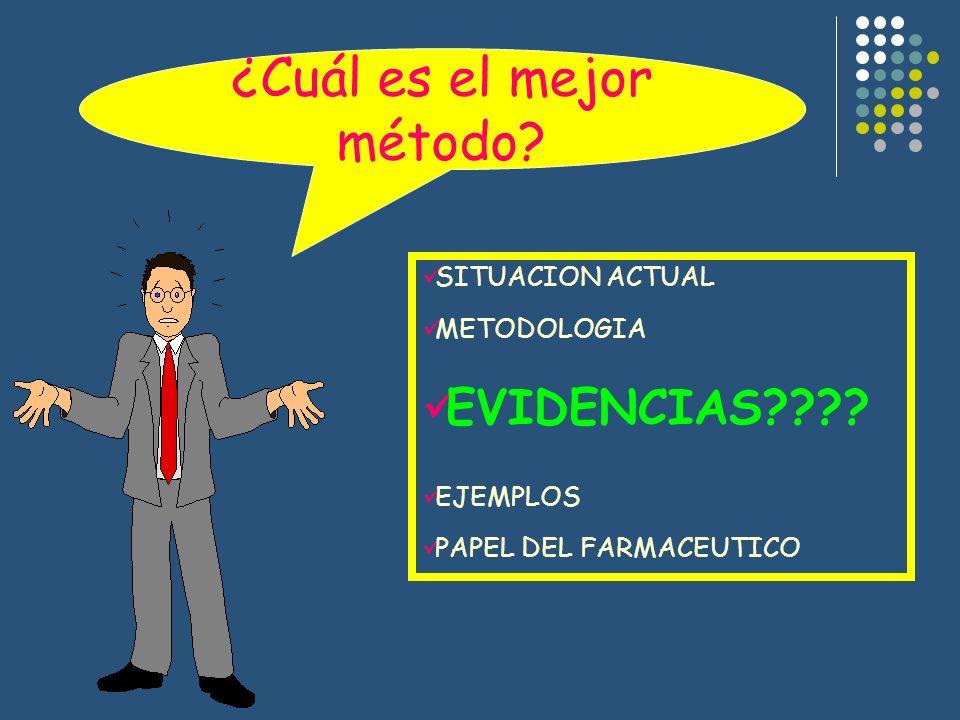 SITUACION ACTUAL METODOLOGIA EVIDENCIAS???? EJEMPLOS PAPEL DEL FARMACEUTICO ¿Cuál es el mejor método?