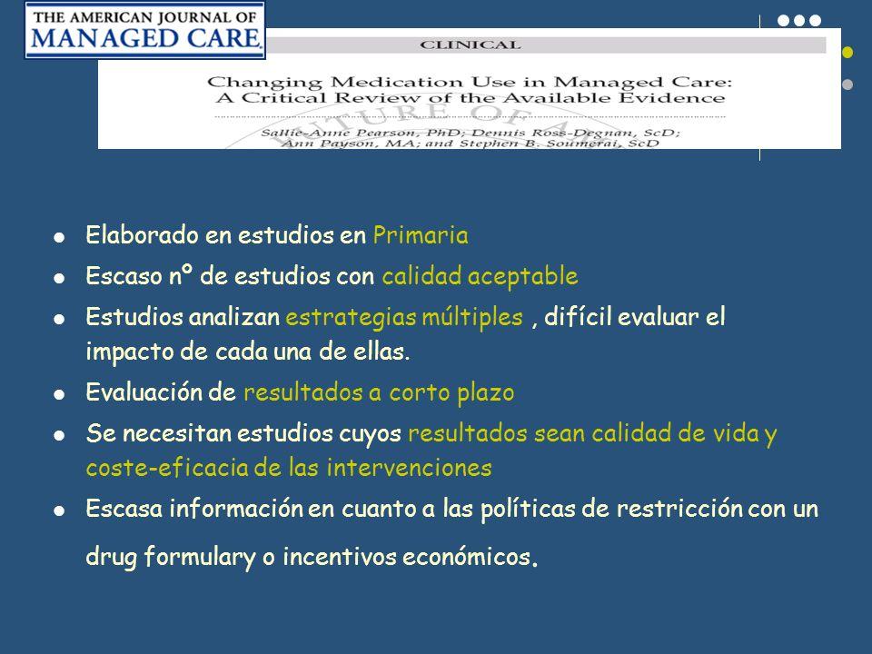Elaborado en estudios en Primaria Escaso nº de estudios con calidad aceptable Estudios analizan estrategias múltiples, difícil evaluar el impacto de c
