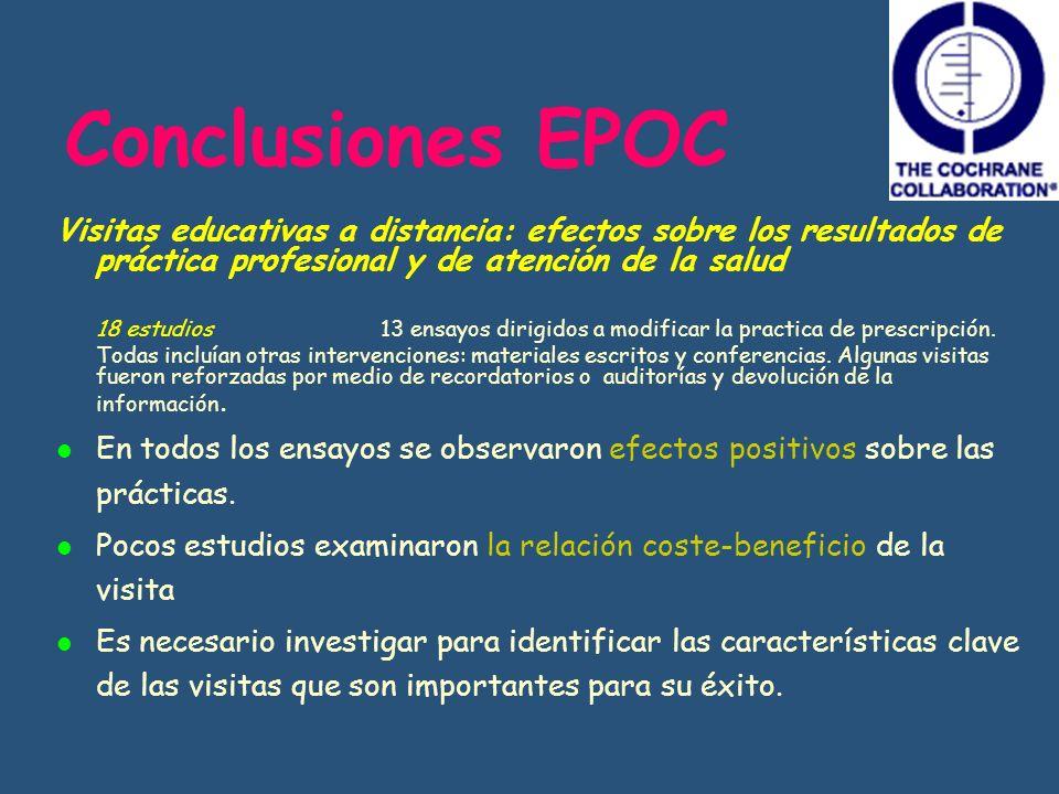 Conclusiones EPOC Visitas educativas a distancia: efectos sobre los resultados de práctica profesional y de atención de la salud 18 estudios 13 ensayo