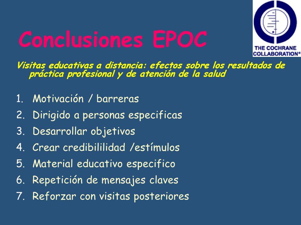 Conclusiones EPOC Visitas educativas a distancia: efectos sobre los resultados de práctica profesional y de atención de la salud 1. Motivación / barre
