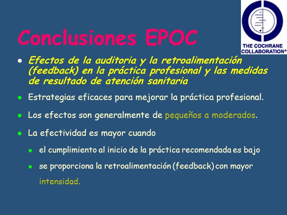 Conclusiones EPOC Efectos de la auditoria y la retroalimentación (feedback) en la práctica profesional y las medidas de resultado de atención sanitari
