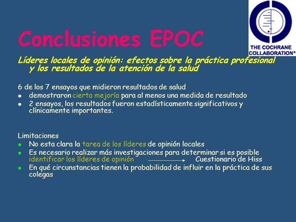 Conclusiones EPOC Líderes locales de opinión: efectos sobre la práctica profesional y los resultados de la atención de la salud 6 de los 7 ensayos que
