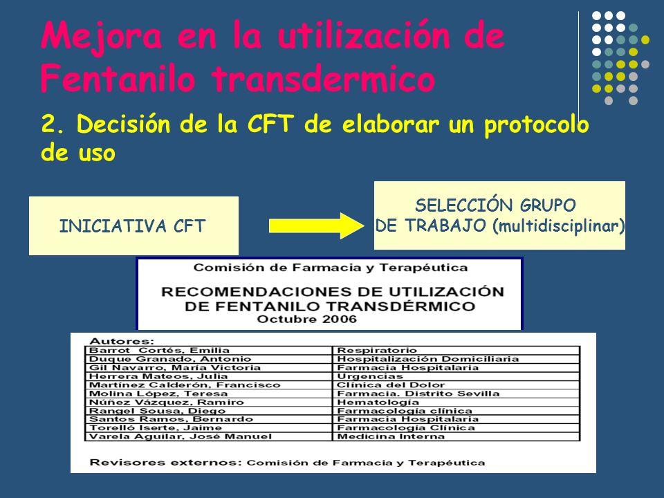 2. Decisión de la CFT de elaborar un protocolo de uso INICIATIVA CFT SELECCIÓN GRUPO DE TRABAJO (multidisciplinar) Mejora en la utilización de Fentani