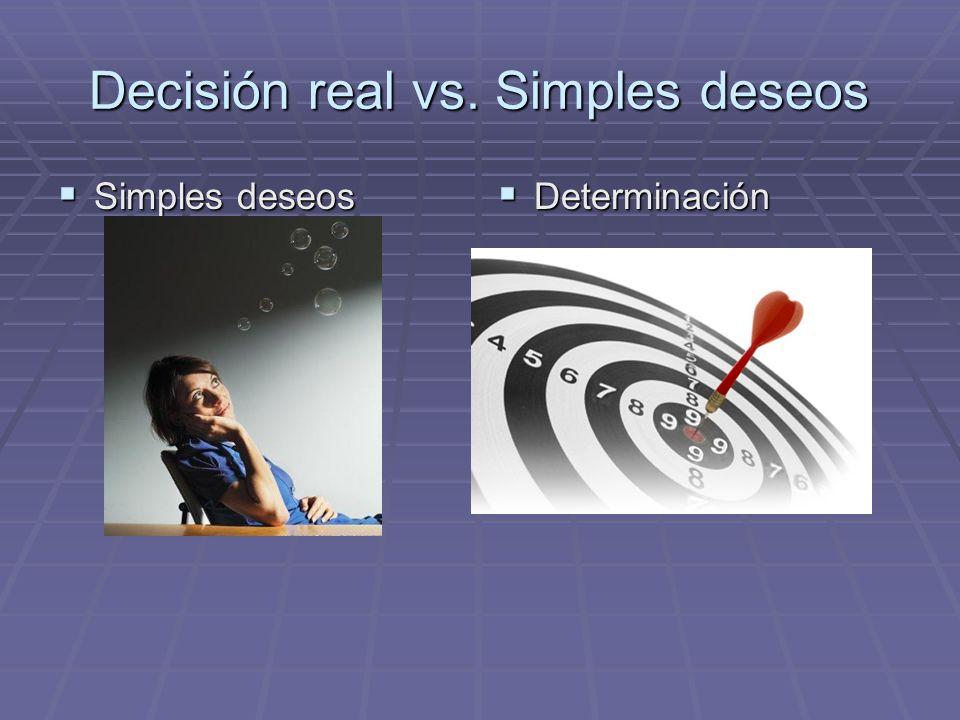 Decisión real vs. Simples deseos Simples deseos Simples deseos Determinación Determinación