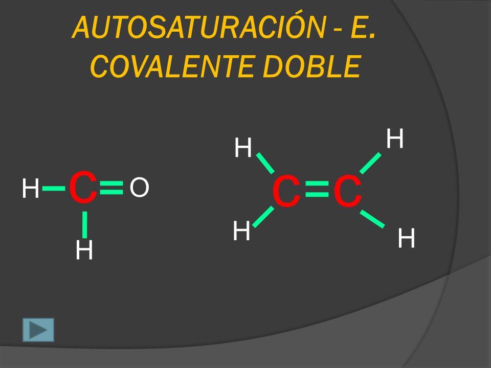 AUTOSATURACIÓN – E. COVALENTE SIMPLE c H H H Cl c H H H c H H