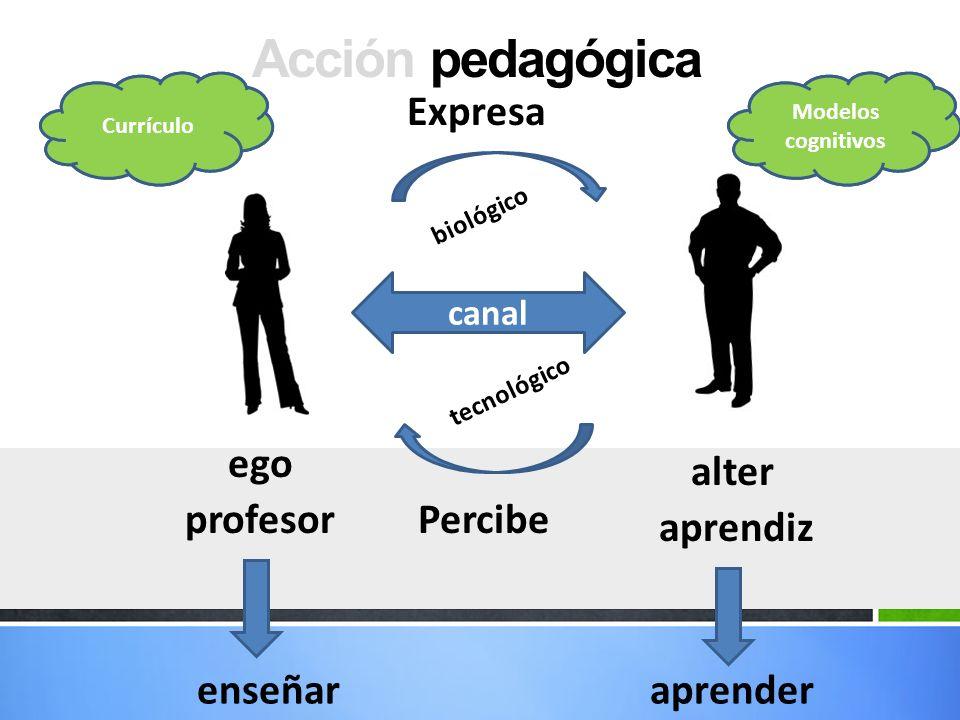 Acción pedagógica ego alter canal b i o l ó g i c o t e c n o l ó g i c o profesor aprendiz Representaciones enseñaraprender Representaciones Expresa