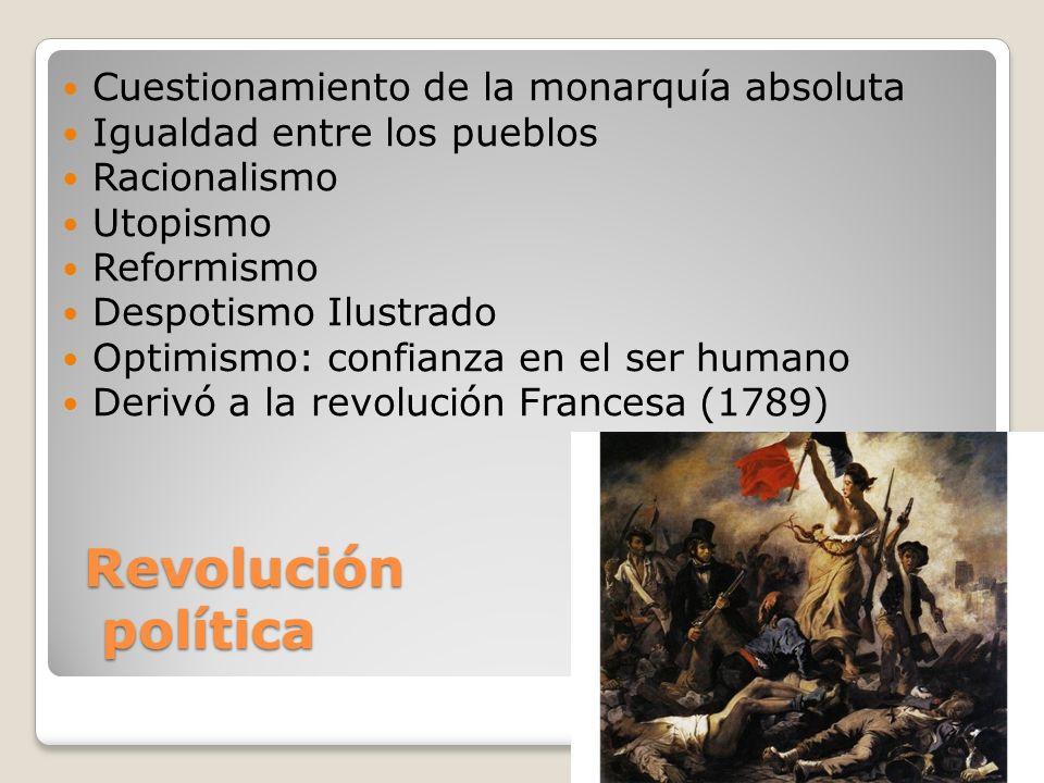 Revolución política Cuestionamiento de la monarquía absoluta Igualdad entre los pueblos Racionalismo Utopismo Reformismo Despotismo Ilustrado Optimism