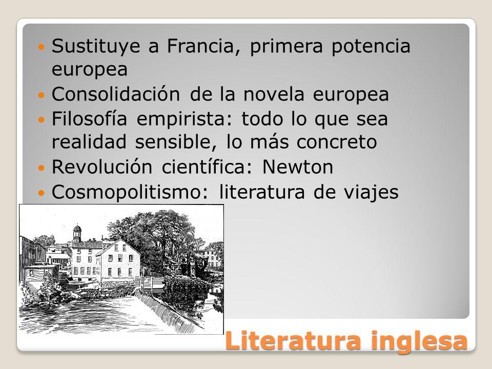 Literatura inglesa Sustituye a Francia, primera potencia europea Consolidación de la novela europea Filosofía empirista: todo lo que sea realidad sens
