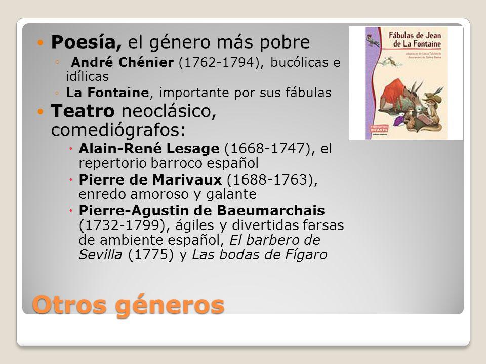 Otros géneros Poesía, el género más pobre André Chénier (1762-1794), bucólicas e idílicas La Fontaine, importante por sus fábulas Teatro neoclásico, c