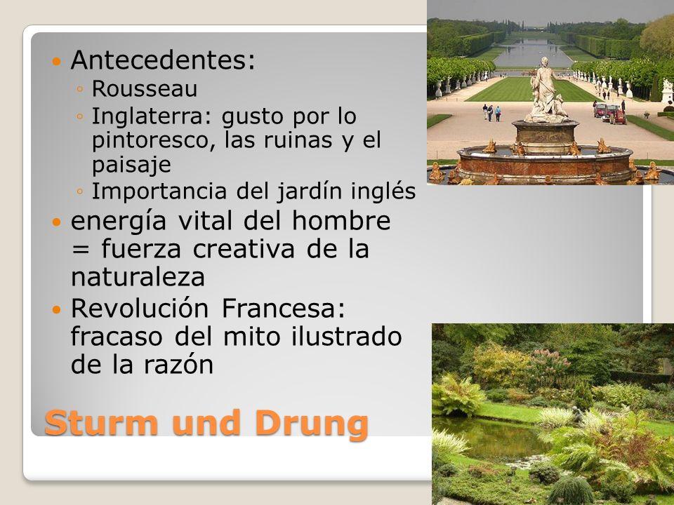Sturm und Drung Antecedentes: Rousseau Inglaterra: gusto por lo pintoresco, las ruinas y el paisaje Importancia del jardín inglés energía vital del ho