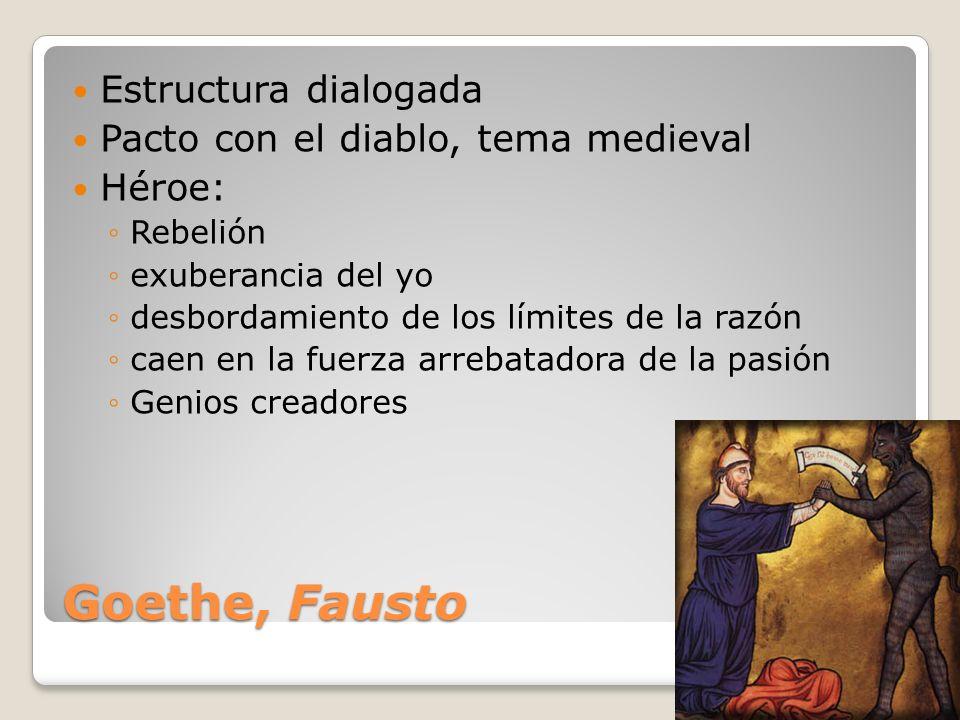 Goethe, Fausto Estructura dialogada Pacto con el diablo, tema medieval Héroe: Rebelión exuberancia del yo desbordamiento de los límites de la razón ca