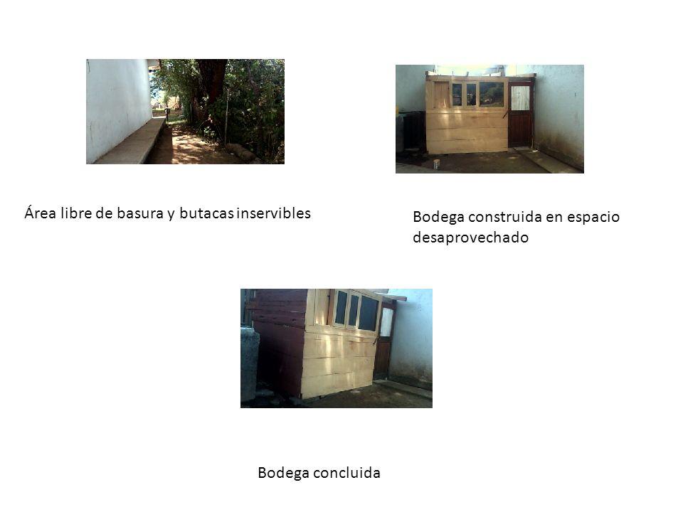 Área libre de basura y butacas inservibles Bodega construida en espacio desaprovechado Bodega concluida