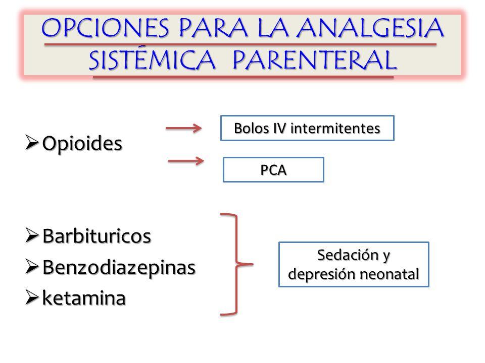 OPCIONES PARA LA ANALGESIA SISTÉMICA PARENTERAL Opioides Opioides Barbituricos Barbituricos Benzodiazepinas Benzodiazepinas ketamina ketamina Sedación y depresión neonatal Bolos IV intermitentes PCA