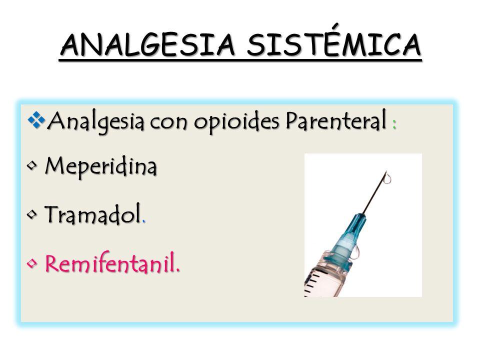ANALGESIA SISTÉMICA Analgesia con opioides Parenteral : Analgesia con opioides Parenteral : MeperidinaMeperidina Tramadol.Tramadol.