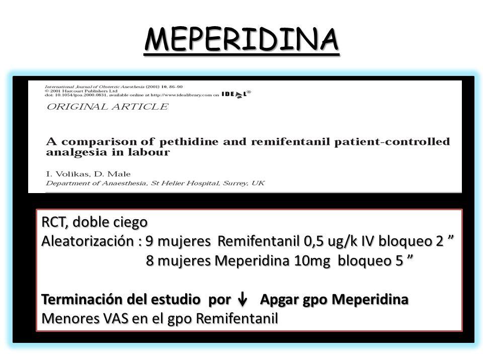 MEPERIDINA RCT, doble ciego Aleatorización : 9 mujeres Remifentanil 0,5 ug/k IV bloqueo 2 Aleatorización : 9 mujeres Remifentanil 0,5 ug/k IV bloqueo 2 8 mujeres Meperidina 10mg bloqueo 5 8 mujeres Meperidina 10mg bloqueo 5 Terminación del estudio por Apgar gpo Meperidina Menores VAS en el gpo Remifentanil