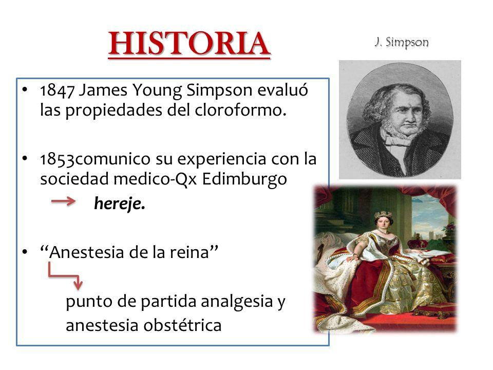 HISTORIA 1847 James Young Simpson evaluó las propiedades del cloroformo.