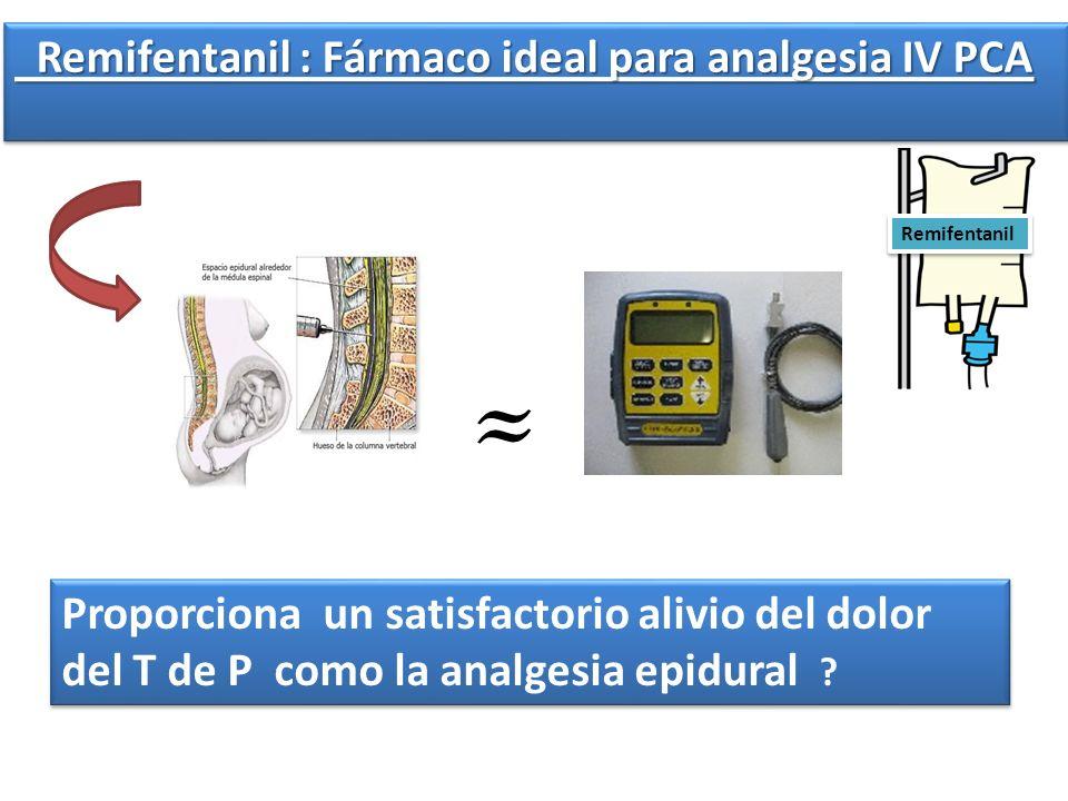 Remifentanil : Fármaco ideal para analgesia IV PCA Remifentanil : Fármaco ideal para analgesia IV PCA Proporciona un satisfactorio alivio del dolor de