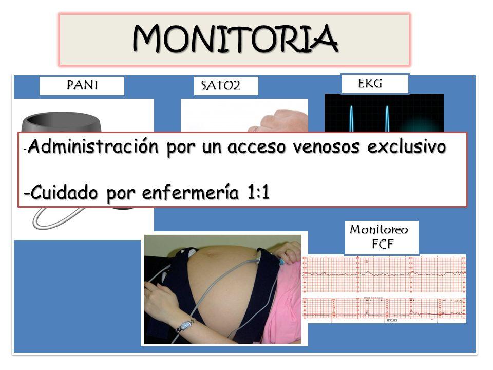MONITORIA PANI SATO2 EKG Monitoreo FCF FCF Administración por un acceso venosos exclusivo - Administración por un acceso venosos exclusivo -Cuidado po