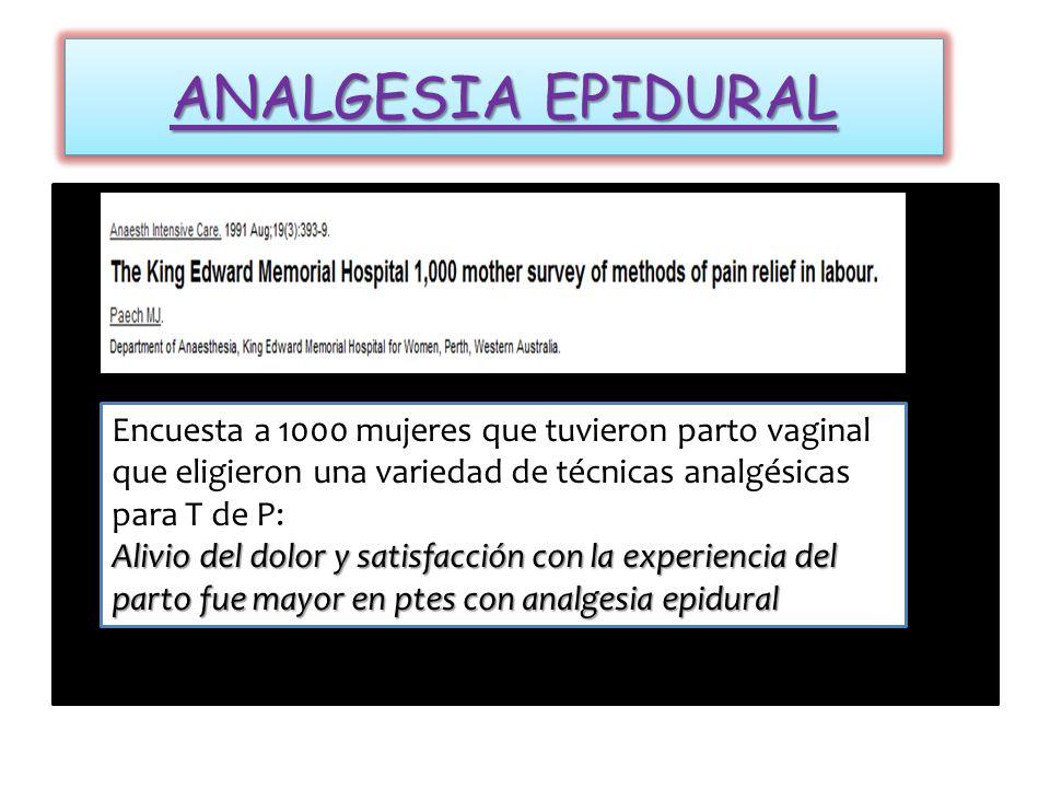 17 maternas en T de P Dosis efectiva media 0,4 ug/kg (rango 0,2 – 0,8 ug/kg) VAS 3 - 5 EA observados: desaturación O2 – sedación y variabilidad FCF Remifentanil PCIA 40 mcg con bloqueo 2 Vs Meperidina 15 mg con bloqueo 10 Remifentanil PCIA 40 mcg con bloqueo 2 Vs Meperidina 15 mg con bloqueo 10 VAS similar en ambos (6.4 y 6.9) y SATO2 materno Puntajes de satisfacción Remifentanil fueron mayores Calificaciones de capacidad adaptativa y neurológica > remifentanil