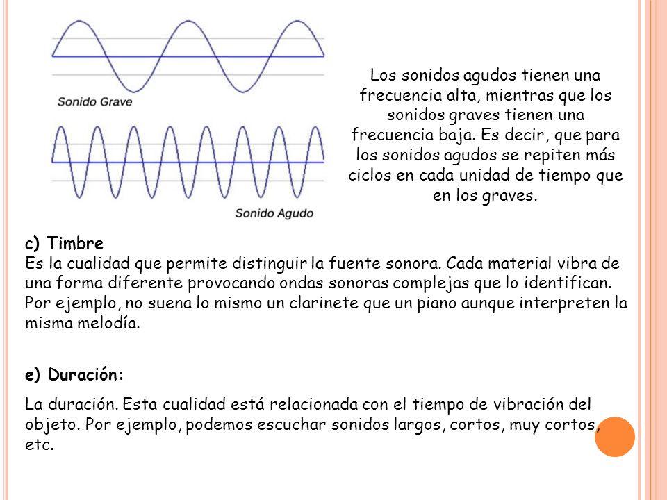 c) Timbre Es la cualidad que permite distinguir la fuente sonora. Cada material vibra de una forma diferente provocando ondas sonoras complejas que lo
