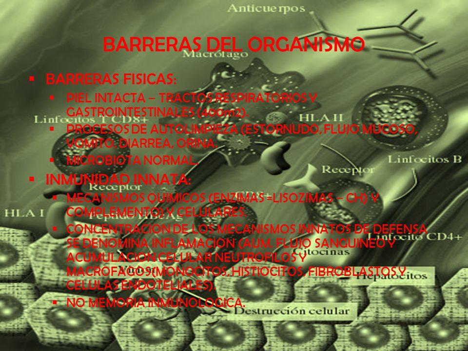 BARRERAS DEL ORGANISMO INMUNIDAD ADQUIRIDA RECONOCER, DESTRUIR Y APRENDER = INMUNIZAR ESPECIFICIDAD FRENTE A UN MICROORGANISMO.