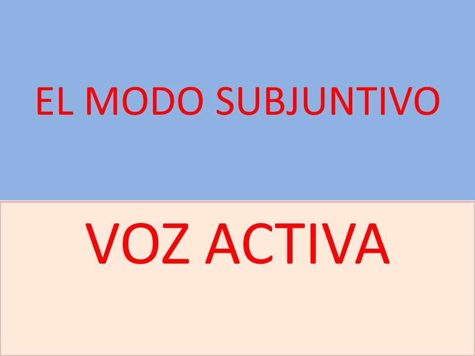 EL MODO SUBJUNTIVO VOZ ACTIVA