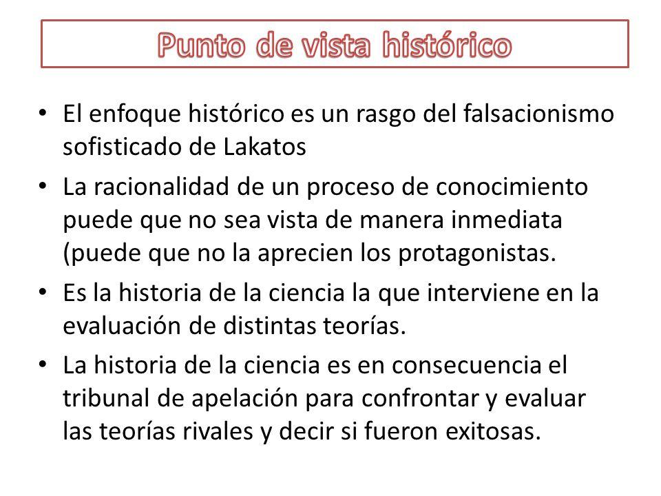 El enfoque histórico es un rasgo del falsacionismo sofisticado de Lakatos La racionalidad de un proceso de conocimiento puede que no sea vista de mane