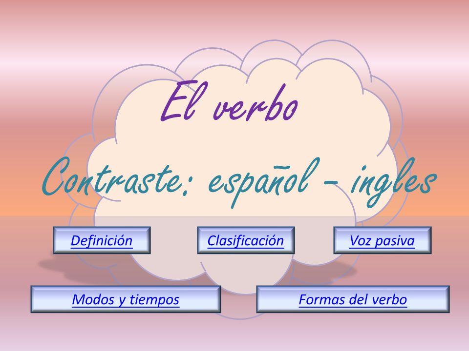 El verbo Contraste: español - ingles DefiniciónClasificación Formas del verboModos y tiempos Voz pasiva