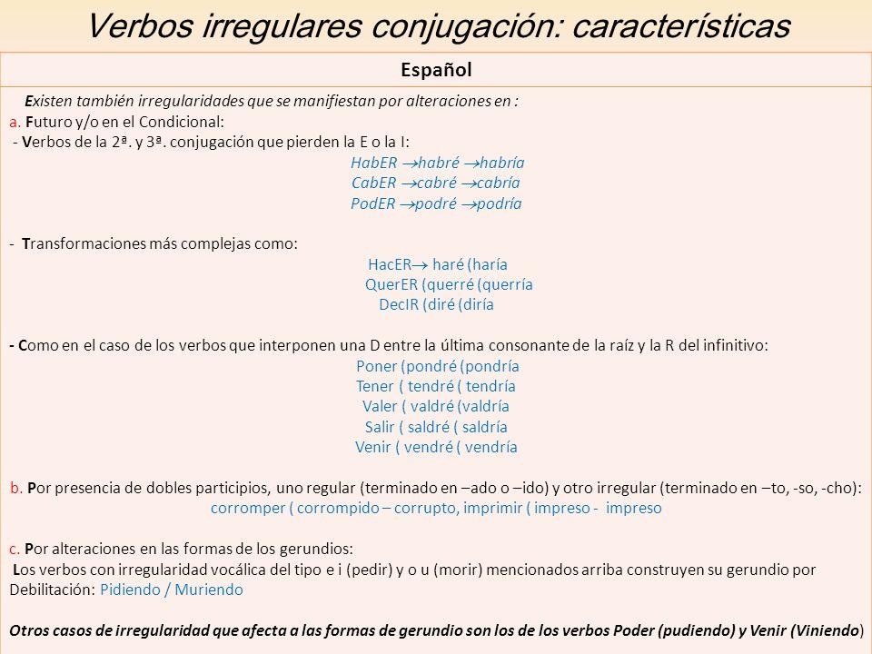 Verbos irregulares conjugación: características Español Existen también irregularidades que se manifiestan por alteraciones en : a. Futuro y/o en el C