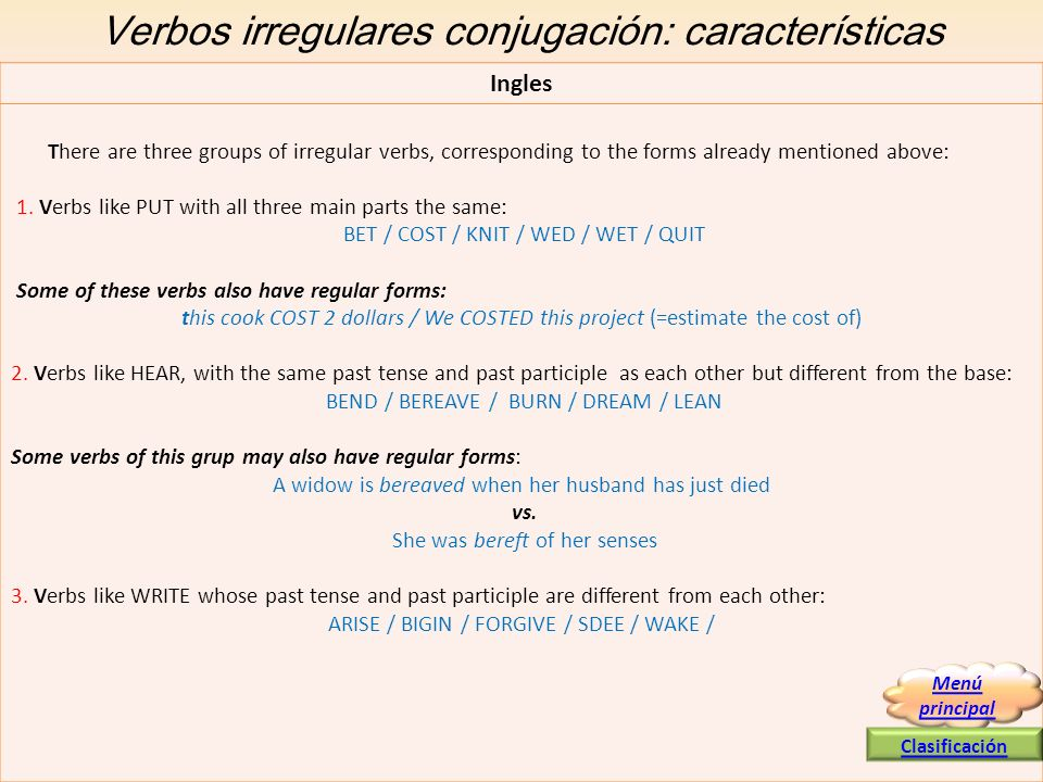 Verbos irregulares conjugación: características Ingles There are three groups of irregular verbs, corresponding to the forms already mentioned above: