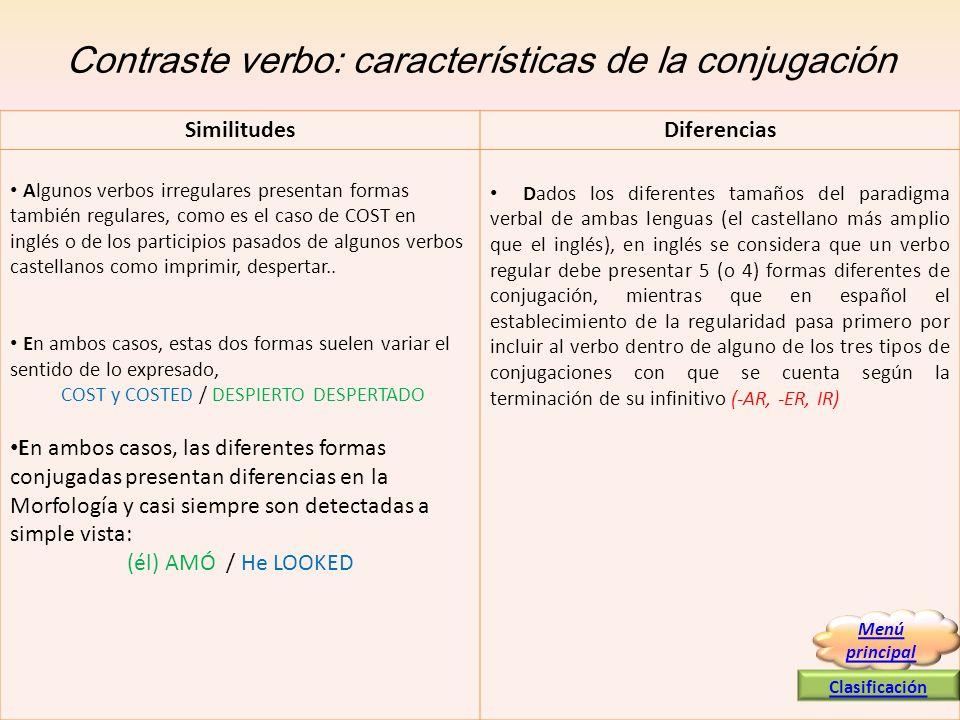 Contraste verbo: características de la conjugación Algunos verbos irregulares presentan formas también regulares, como es el caso de COST en inglés o
