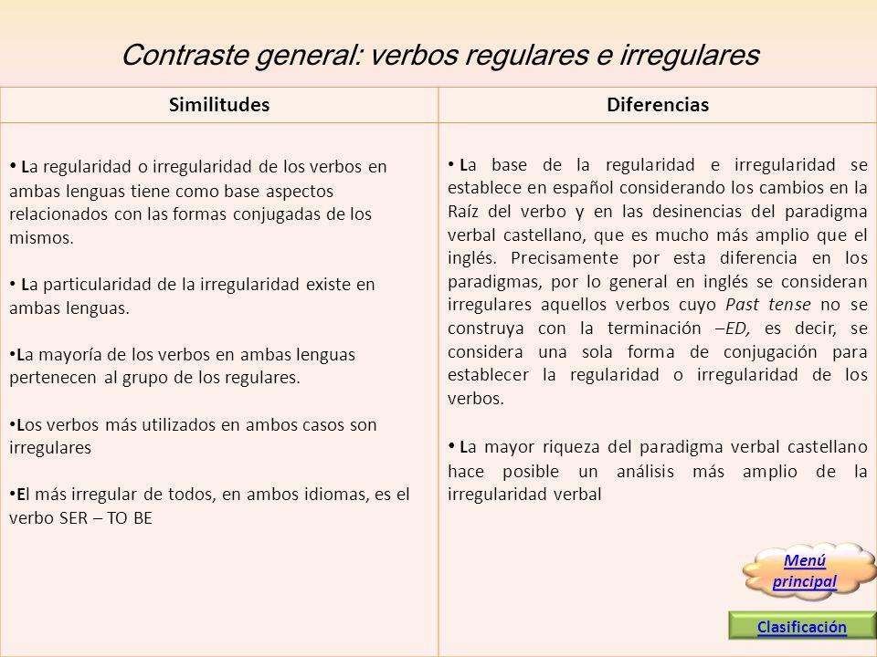 Contraste general: verbos regulares e irregulares La regularidad o irregularidad de los verbos en ambas lenguas tiene como base aspectos relacionados
