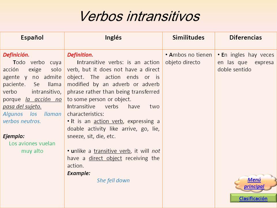 Verbos intransitivos EspañolInglésSimilitudesDiferencias Definición. Todo verbo cuya acción exige solo agente y no admite paciente. Se llama verbo int