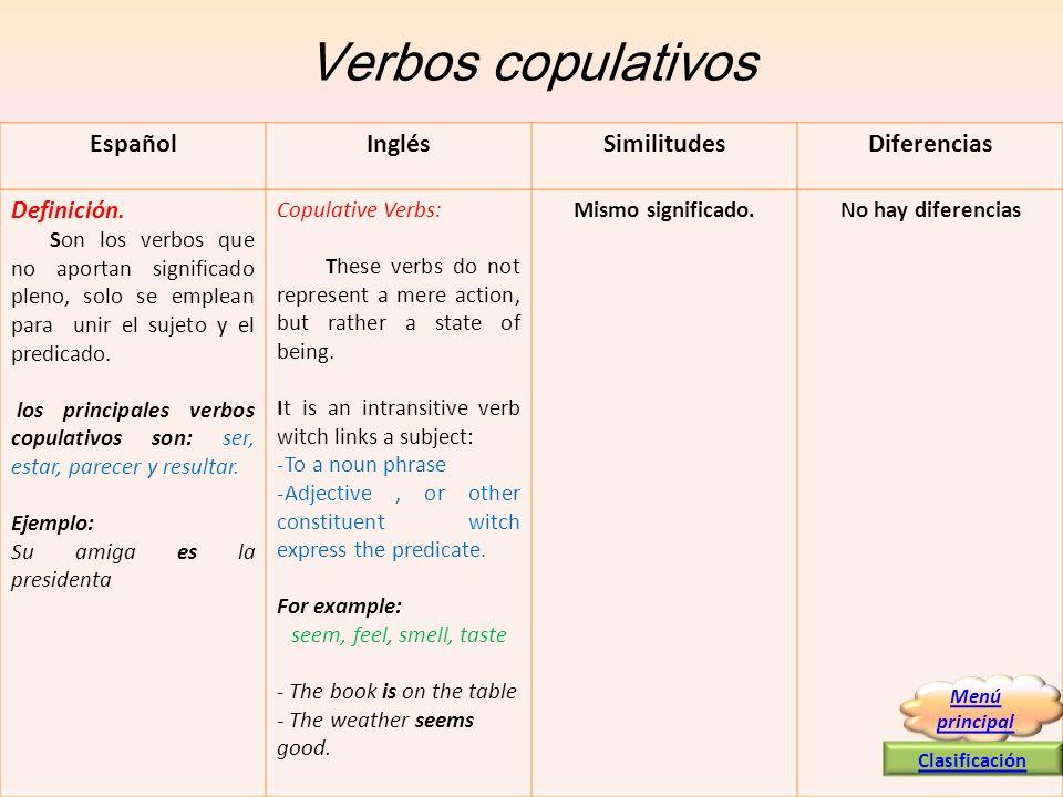 Verbos copulativos EspañolInglésSimilitudesDiferencias Definición. Son los verbos que no aportan significado pleno, solo se emplean para unir el sujet
