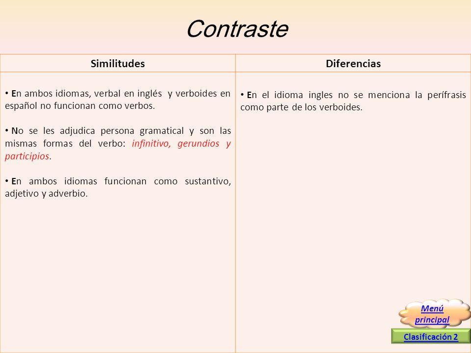 Contraste SimilitudesDiferencias En ambos idiomas, verbal en inglés y verboides en español no funcionan como verbos. No se les adjudica persona gramat