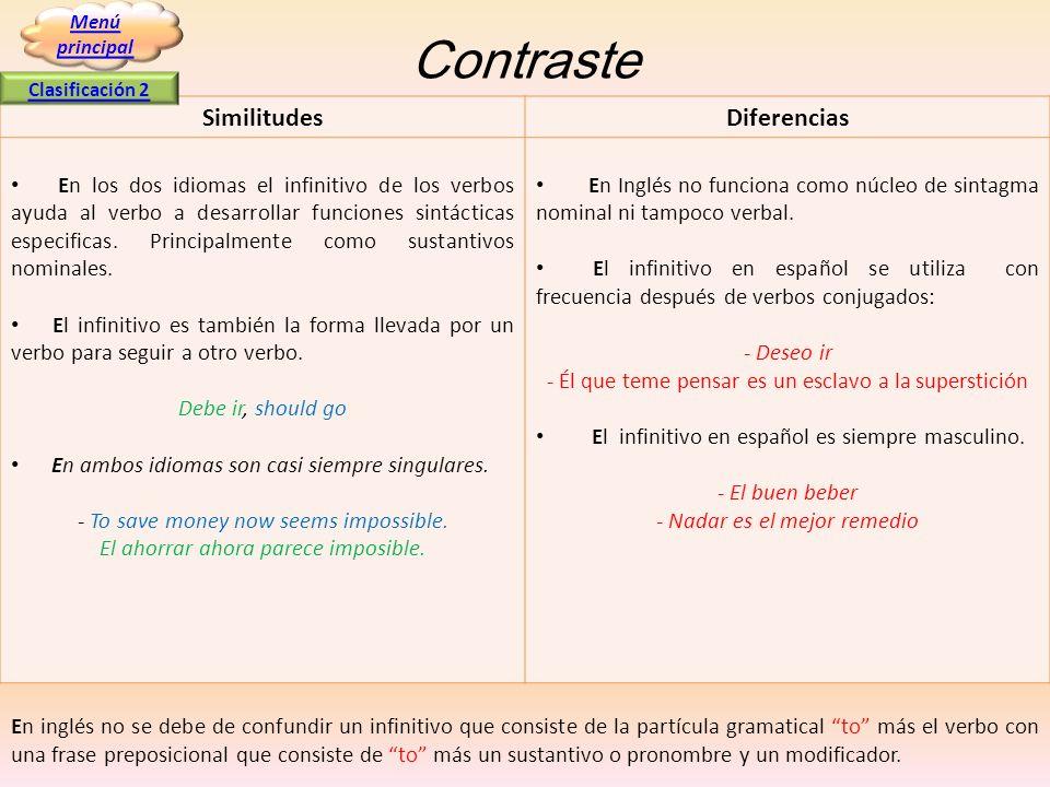 Contraste SimilitudesDiferencias En los dos idiomas el infinitivo de los verbos ayuda al verbo a desarrollar funciones sintácticas especificas. Princi